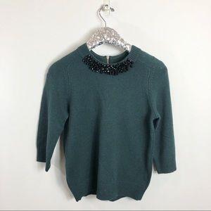 Ann Taylor Emerald Green Sweater Black Beading SM